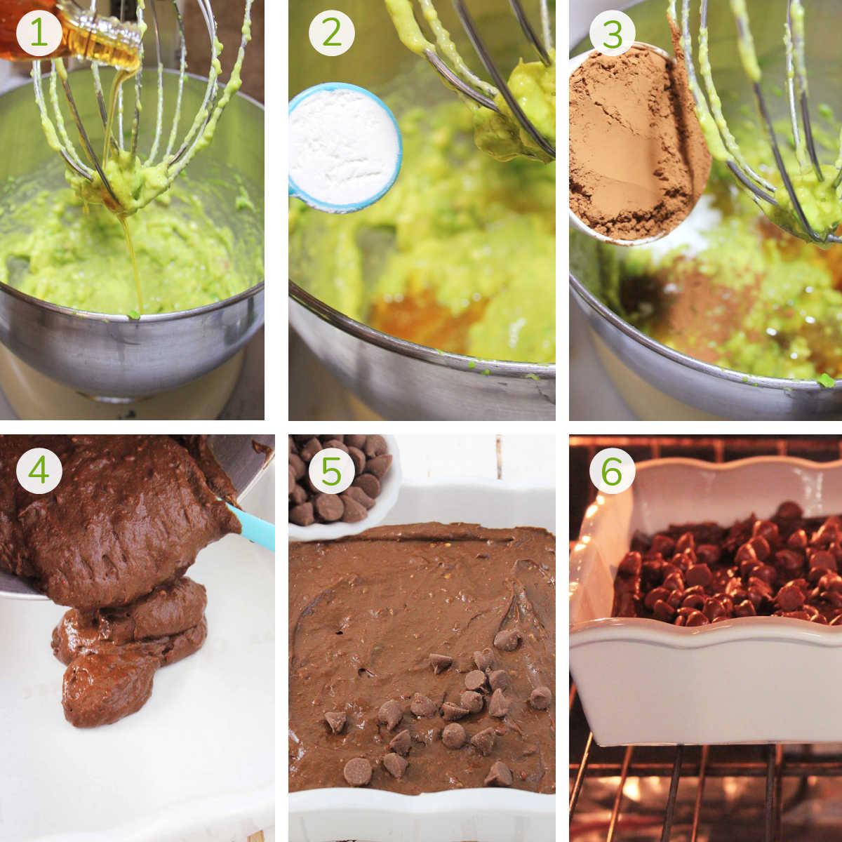process photos showing mixing the ingredients, adding it to a baking dish, sprinkling on chocolate chips and baking.