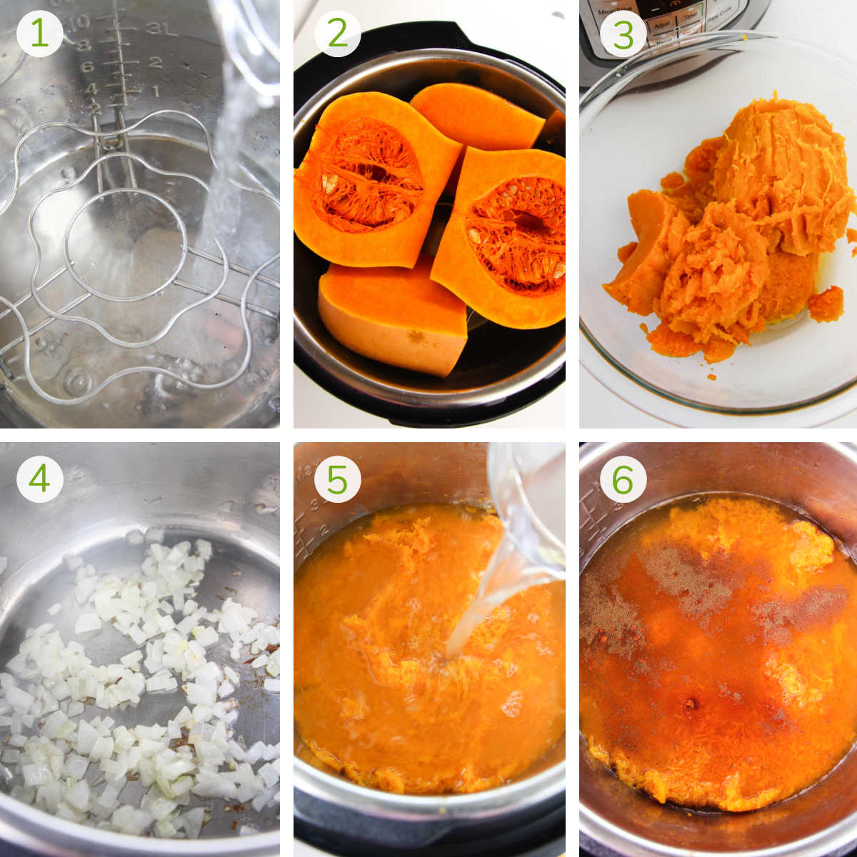 process shots showing how to steam the squash, scooping it out, sautéing onions and adding seasonings.