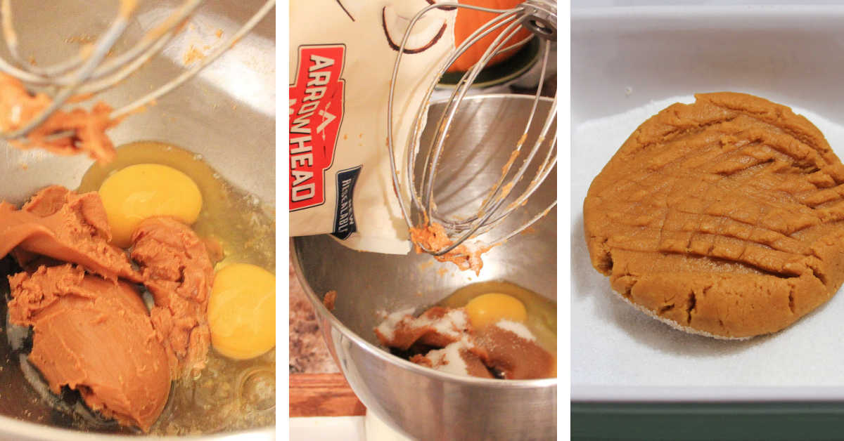 three process photos showing how to mix the peanut butter, egg, coconut flour and form it into cookies.