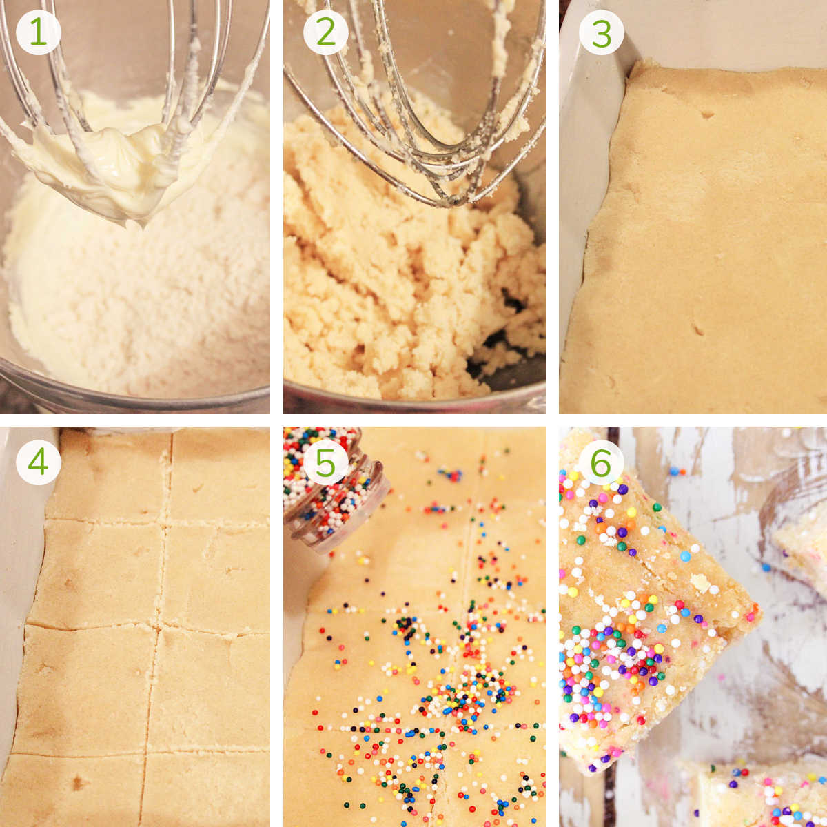 six process photos showing how to mix the dough, press it in a pan, slice, top with nonpareils and bake.