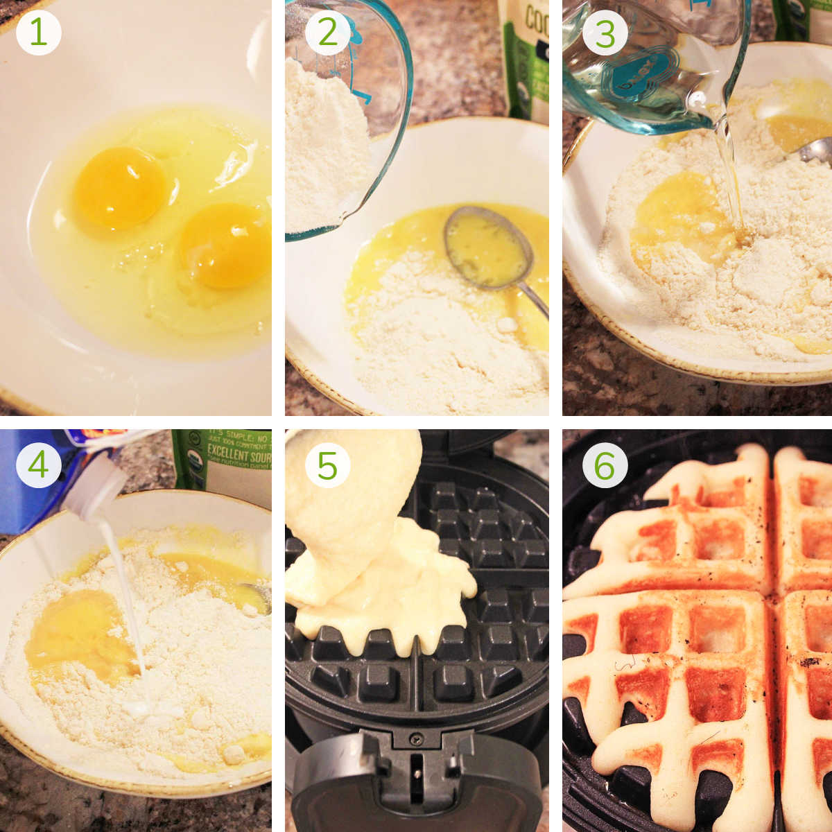 six photos that show how to make the coconut flour waffles in a bowl with eggs and then the waffle iron.