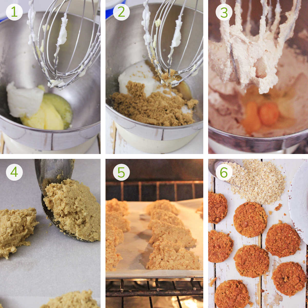 six process photos showing mixing all of the ingredients, forming the dough into cookies, baking and serving.