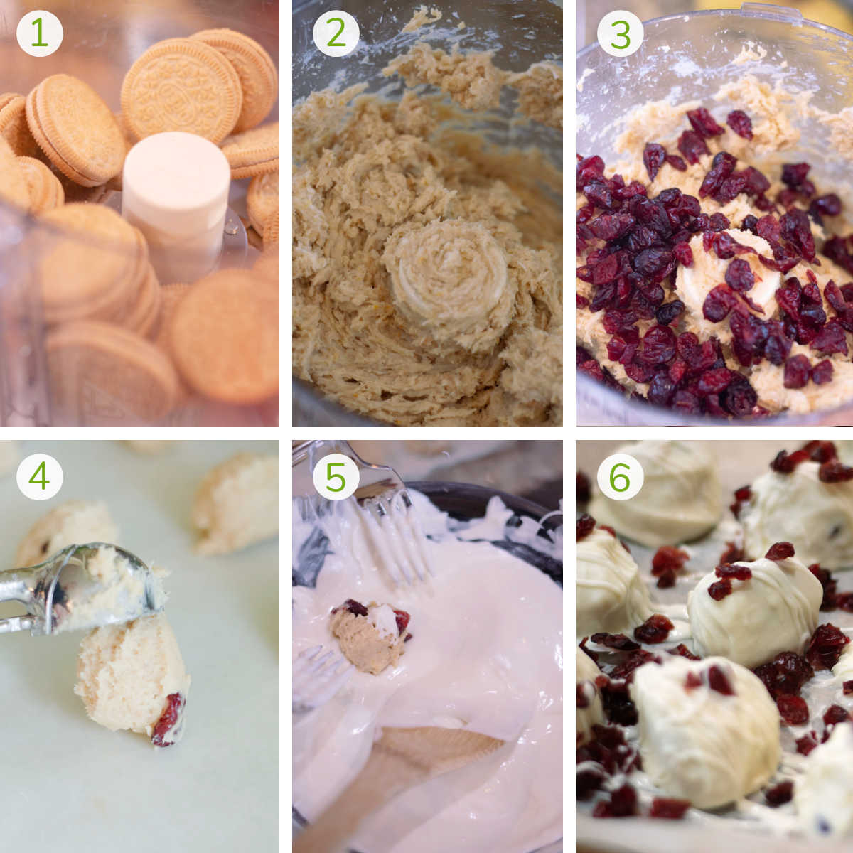 process photos showing mixing the oreos, adding cream cheese and cranberries, dipping in chocolate and toppings.