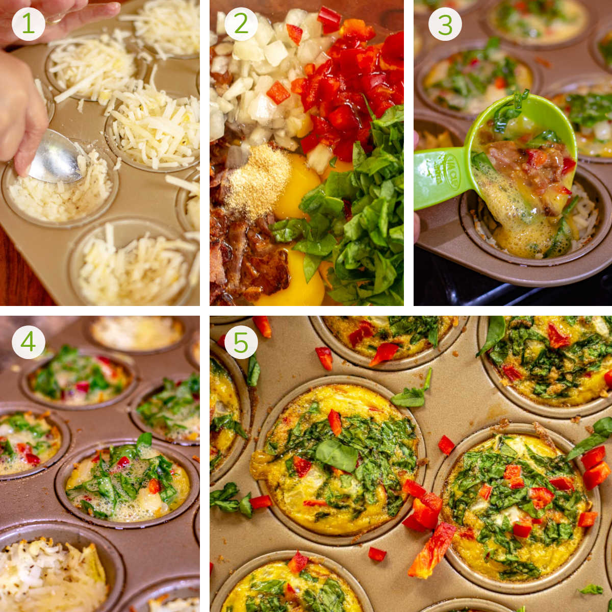 several photos showing making the hash brown nest and making the egg based filling.