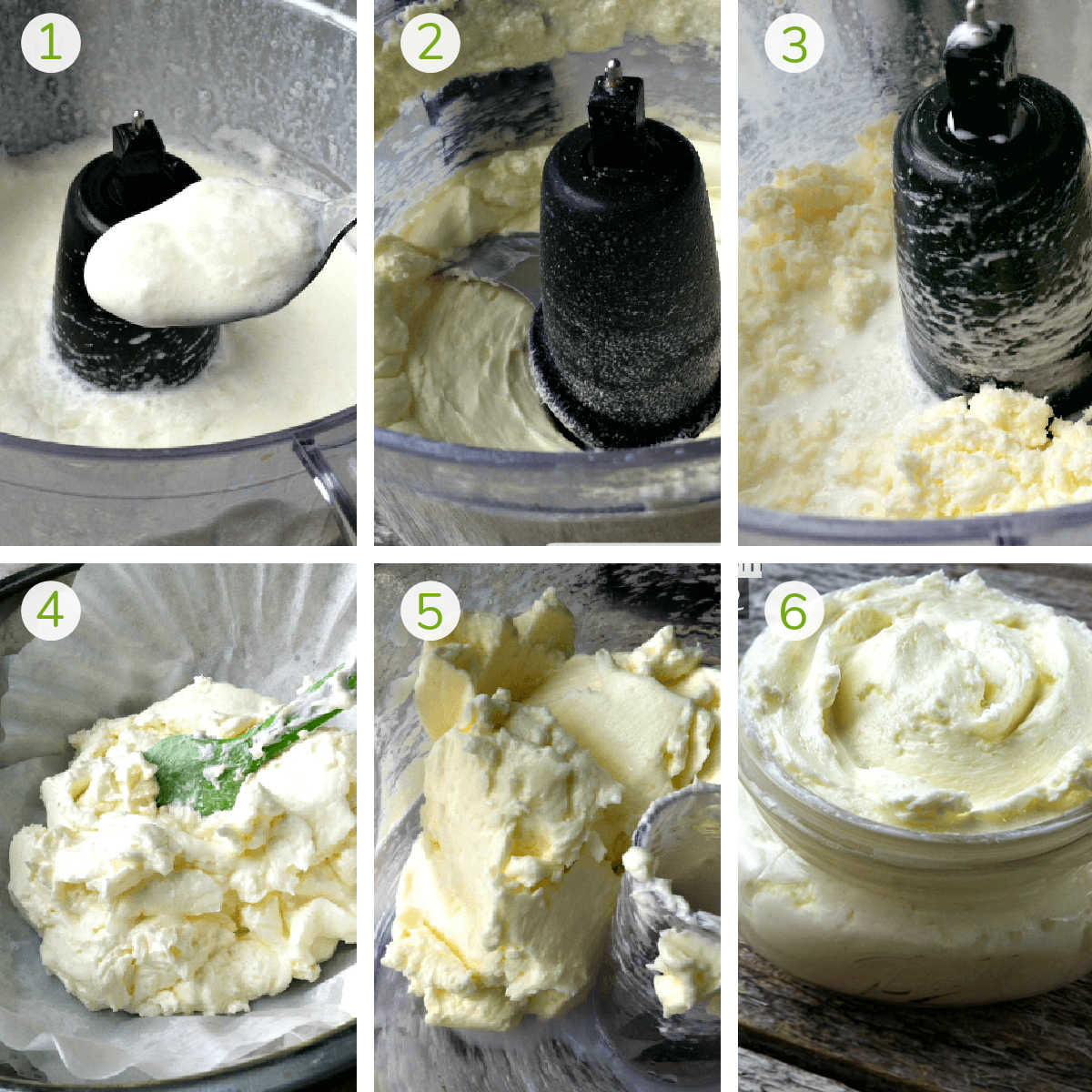 six process photos showing how the fats in the milk are separated and ultimately form the butter.