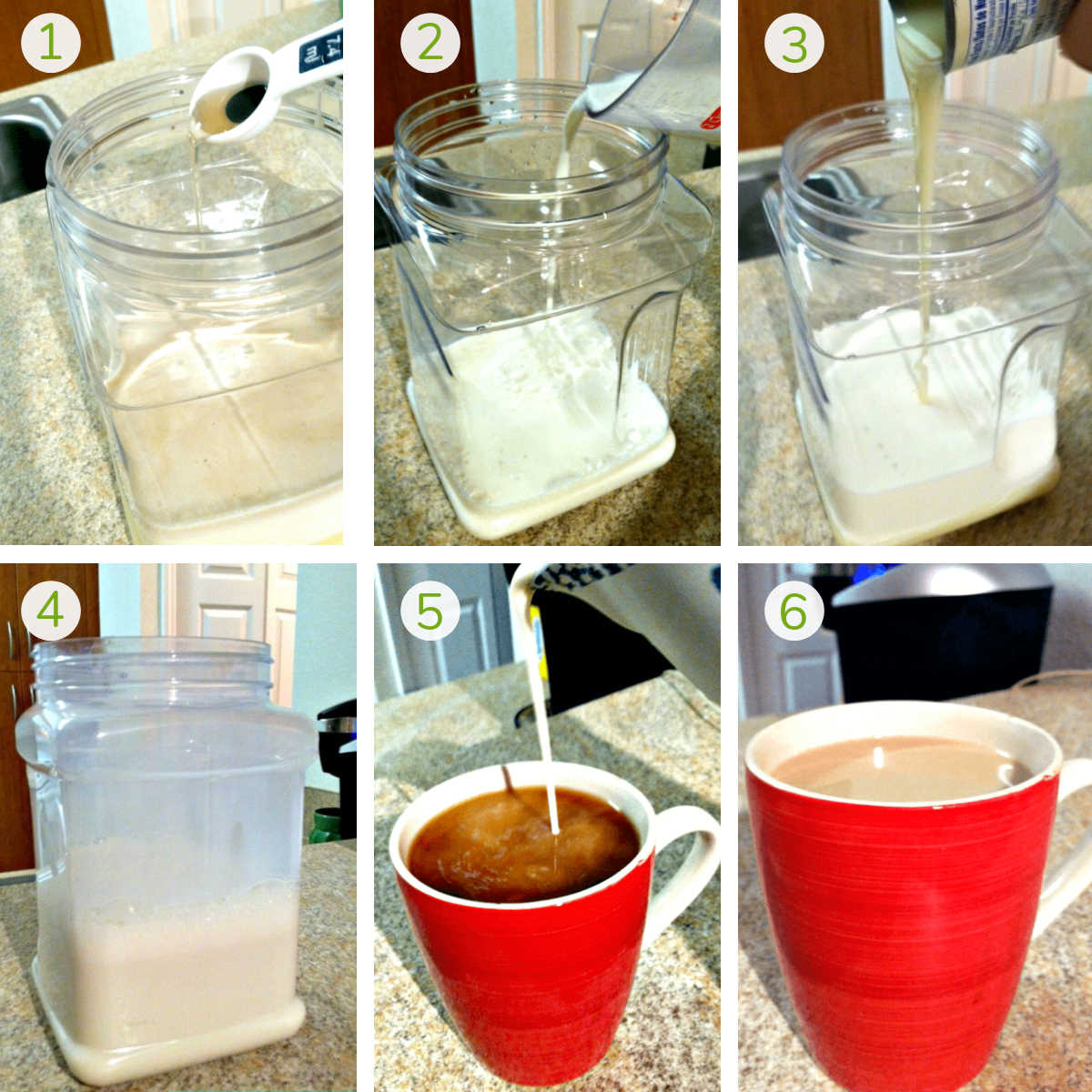six process shots showing how to make the homemade caramel coffee creamer and pour it into a cup of coffee.
