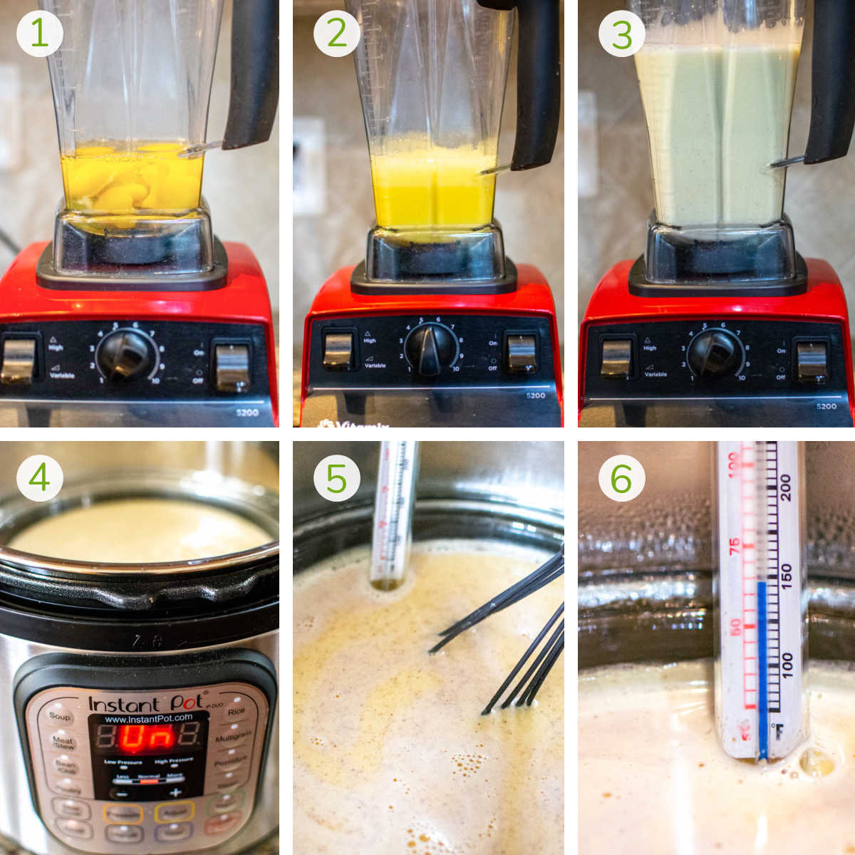 six process photos showing mixing the eggs in the Vitamix and then heating it in the instant pot.