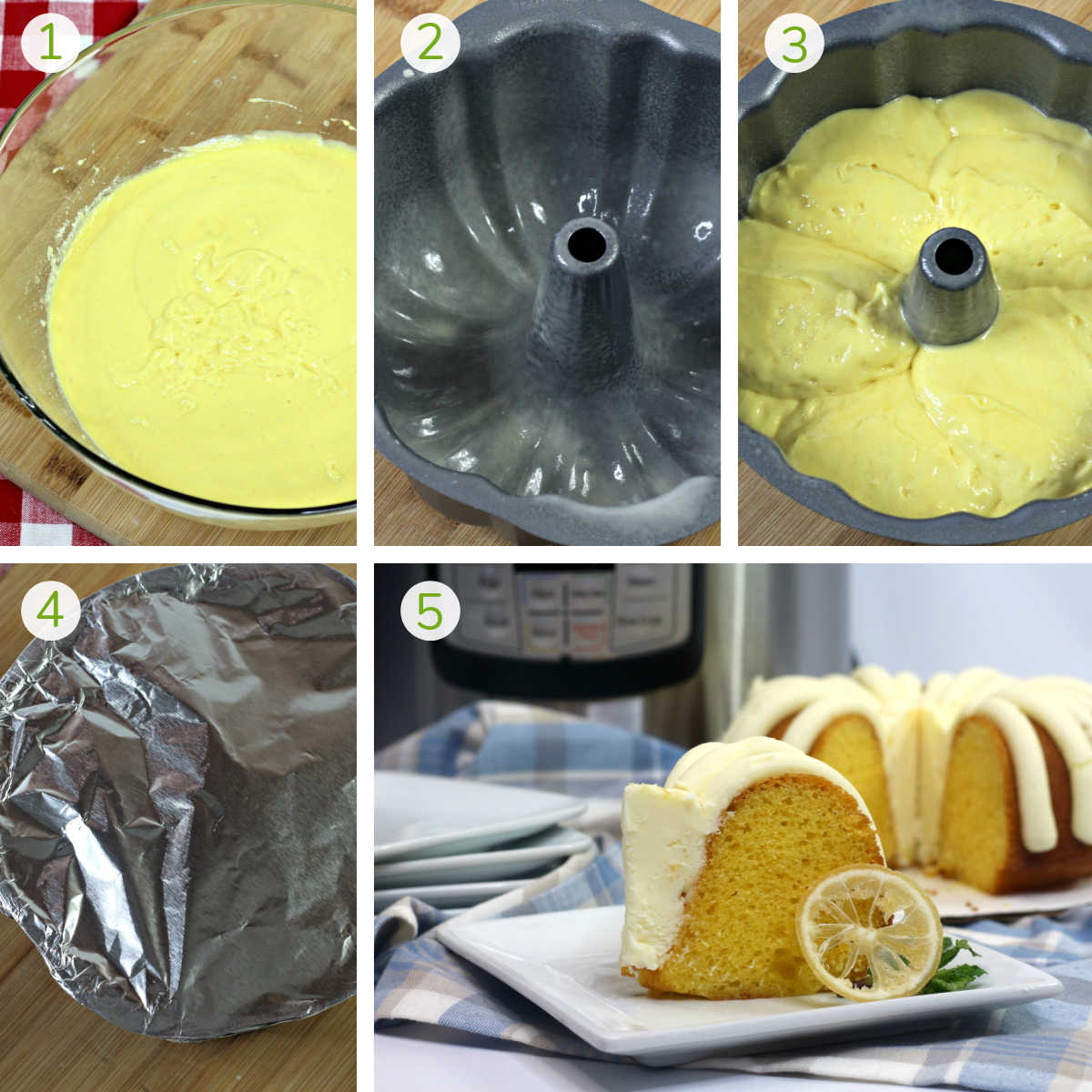 simple steps showing making the batter, adding it to the bundt pan, covering and serving
