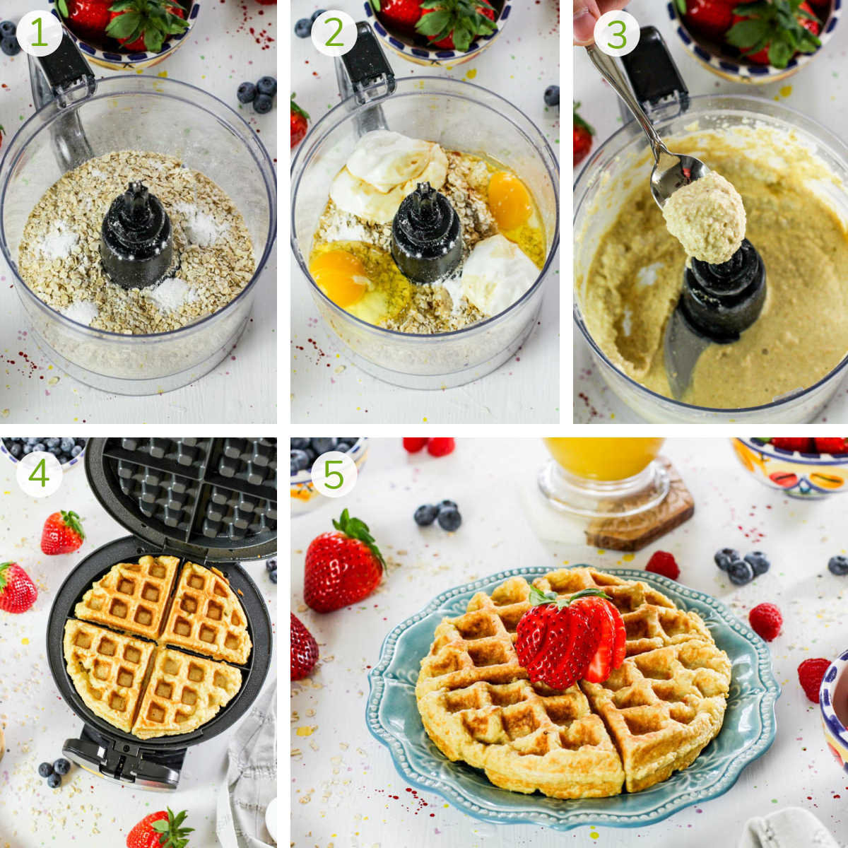 several process photos showing mixing the waffle batter and cooking it on the waffle iron.