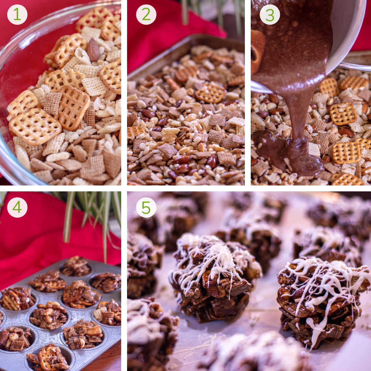 process photos showing making the chex mix, pouring over the nutella and topping with white chocolate.