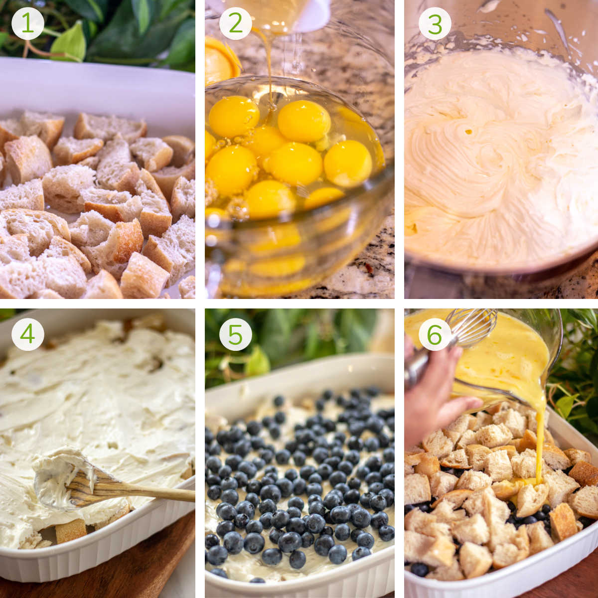 six photos showing layering of the overnight french toast casserole including pour eggs and spreading the cream cheese.