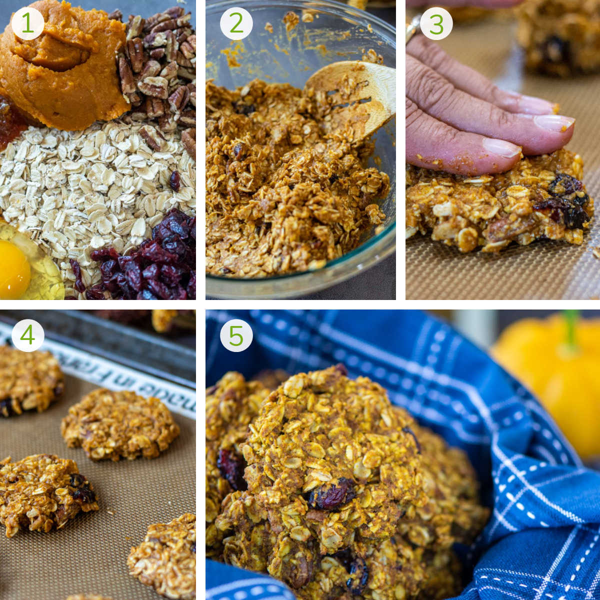 several process photos showing combining the ingredients, forming them into cookies, and baking.