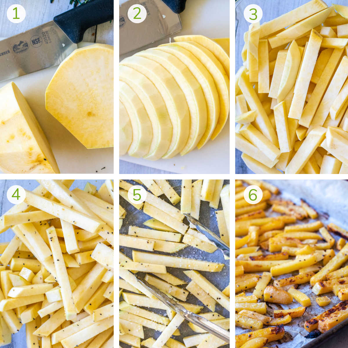 process photos showing slicing the rutabaga, adding salt and pepper and roasting it.