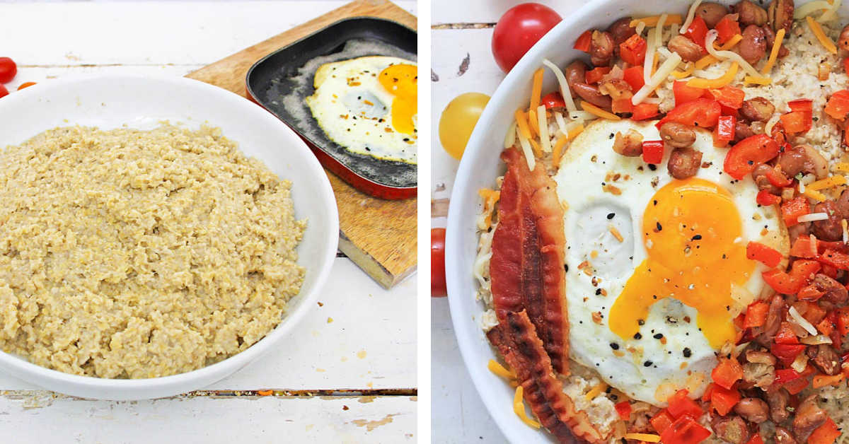 two photos showing making the oats and fried egg and then topped with cheese, peppers and bacon.