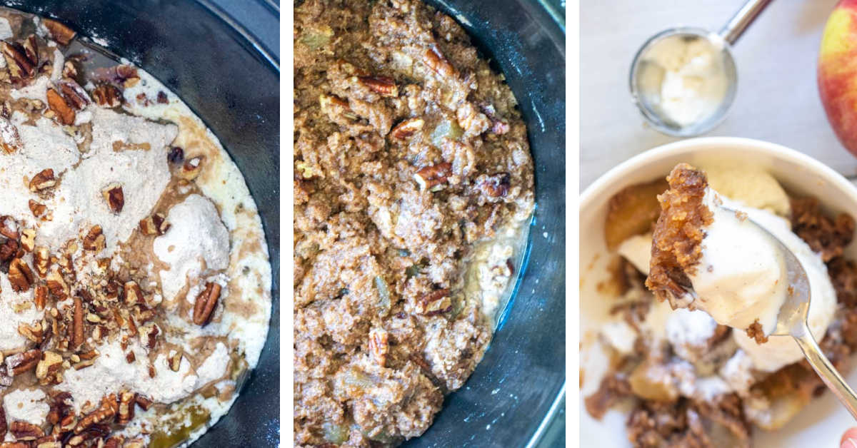 three photos showing how to dump all of the ingredients in the slow cooker, cook it, and then serve with ice cream.
