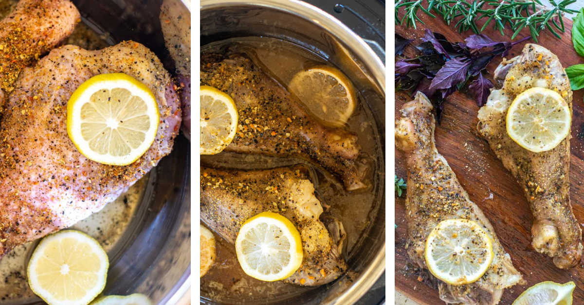 three process photos showing adding the seasoned legs to the instant pot, adding the wine and serving.