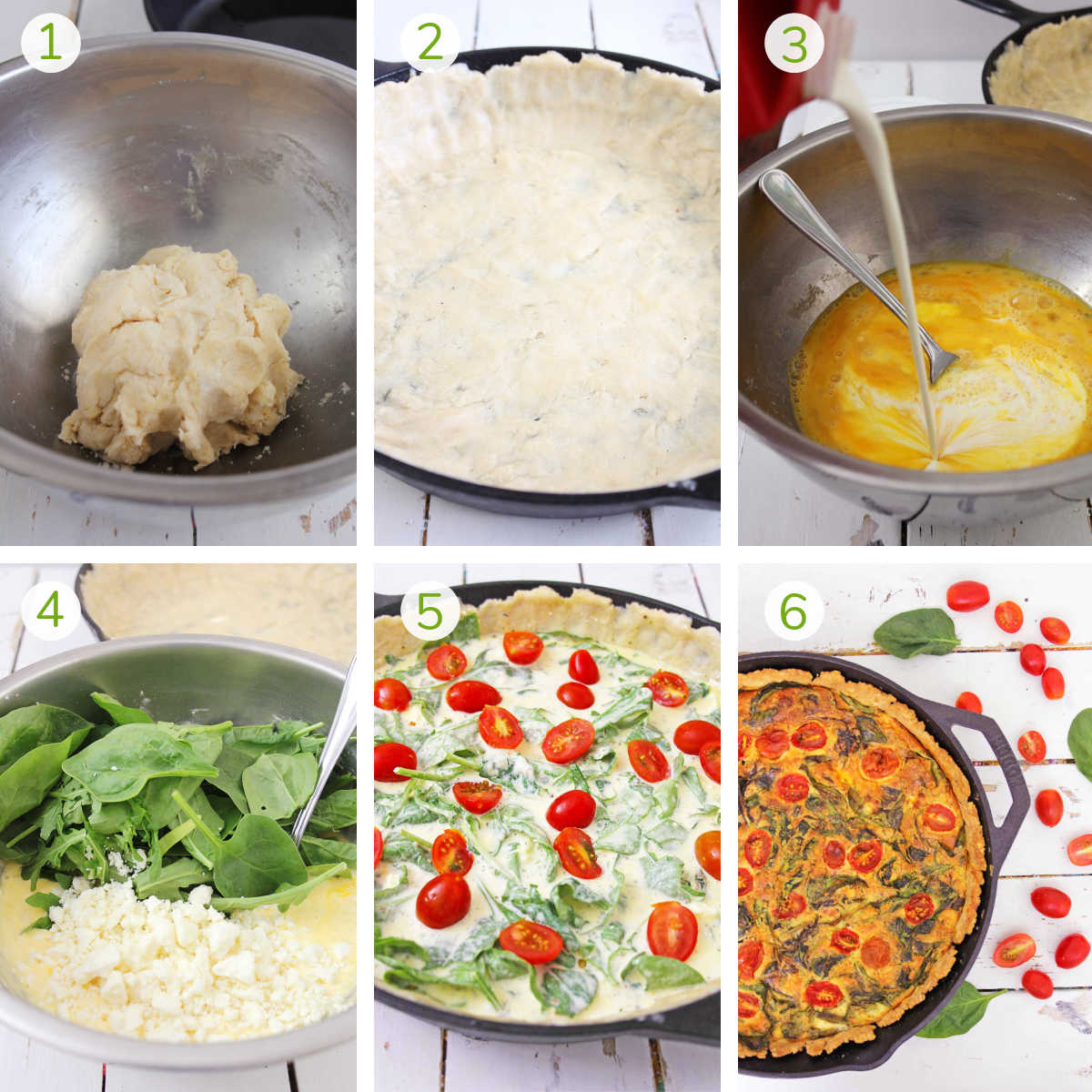 six process photos showing how to make the crust, pour the filling, top with spinach and feta and then baked.