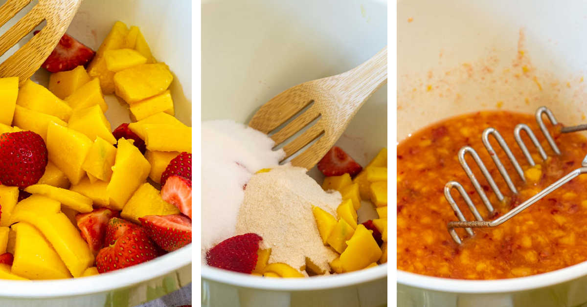 three photos showing how to cut the mangos and strawberries, adding the pectin and sugar and mashing.