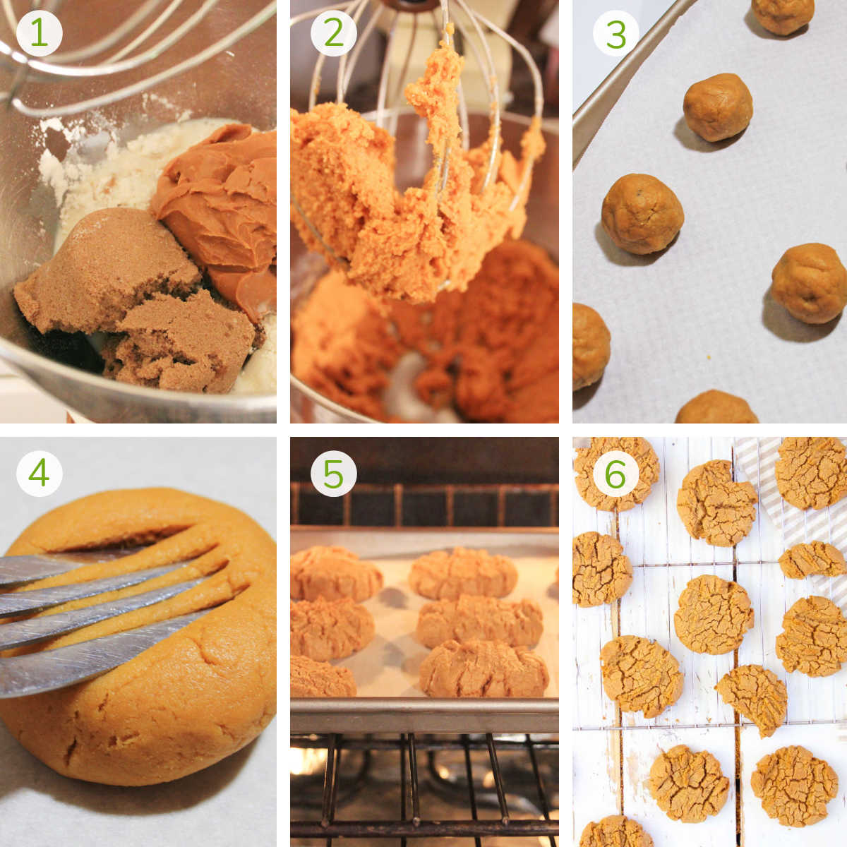 six process photos showing mixing together the ingredients, forming cookie balls, baking and cooling them.