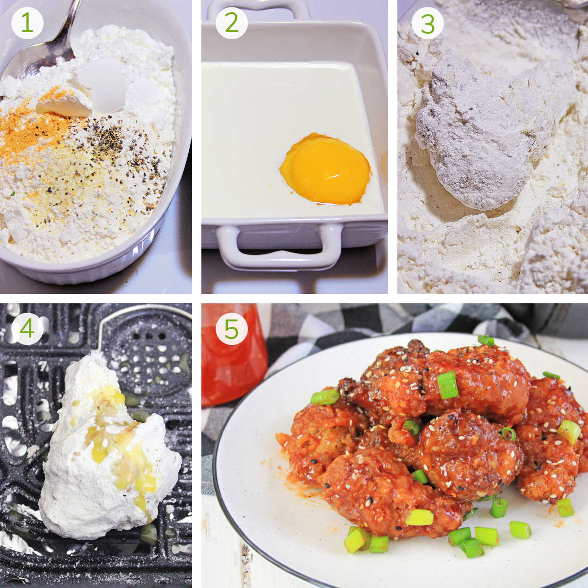 process shots showing how to make the flour coating, rolling the chicken in the mixture, adding it to the air fryer and adding the sauce.