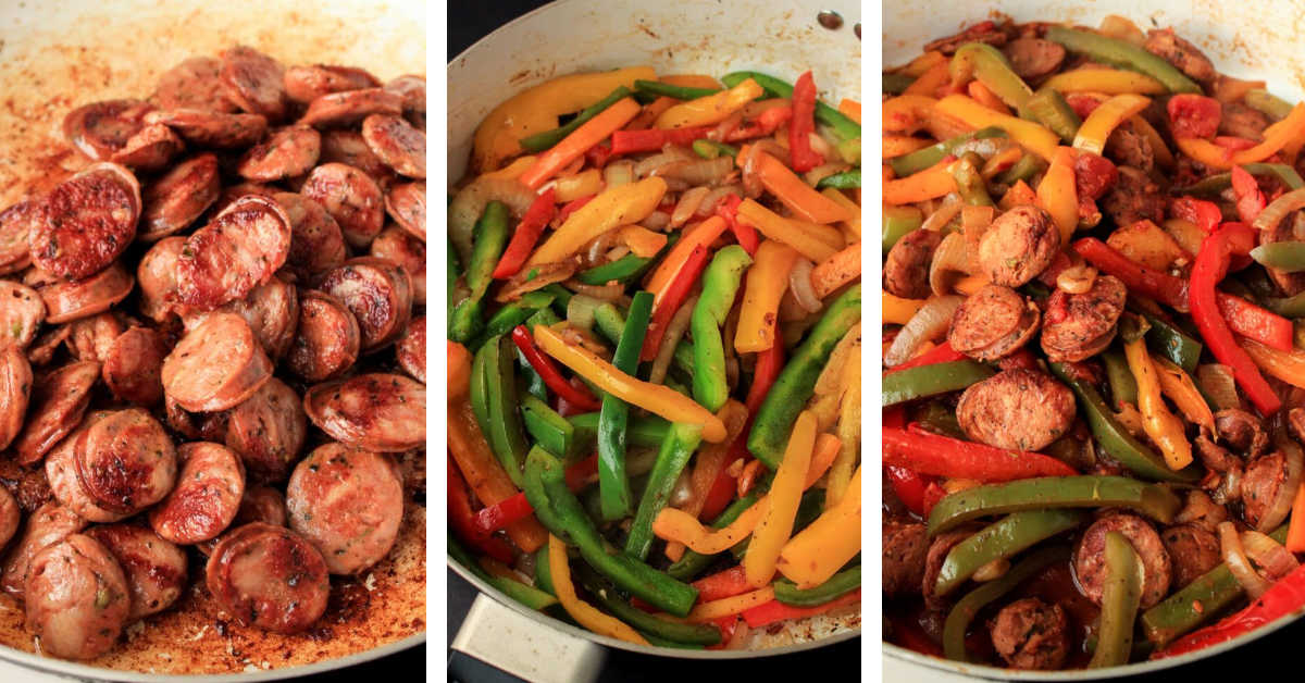 three photos showing browning the sausage, cooking hte multi-colored peppers and combining with the remaining ingredients.