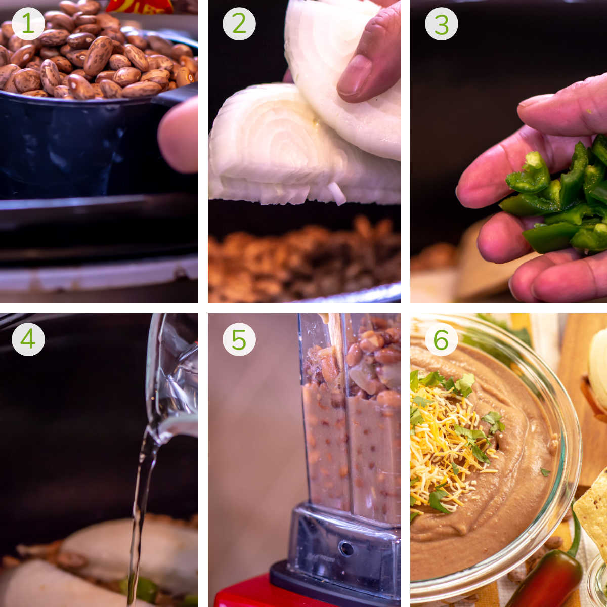 photos showing adding the ingredients to the slow cooker, blending in the high speed blender, and serving.