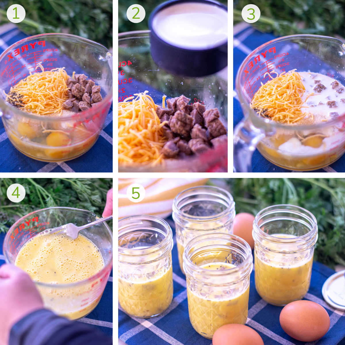 several process shots showing mixing eggs, cheese, sausage, milk, and seasonings to jars and then microwave.