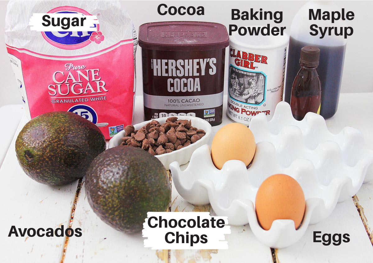 ingredients for the brownies with labels on a white board.
