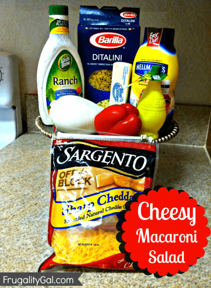 ingredients for macaroni salad on the counter.