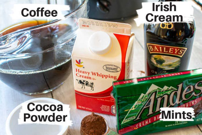 ingredients for irish coffee on the counter in front of the slow cooker.