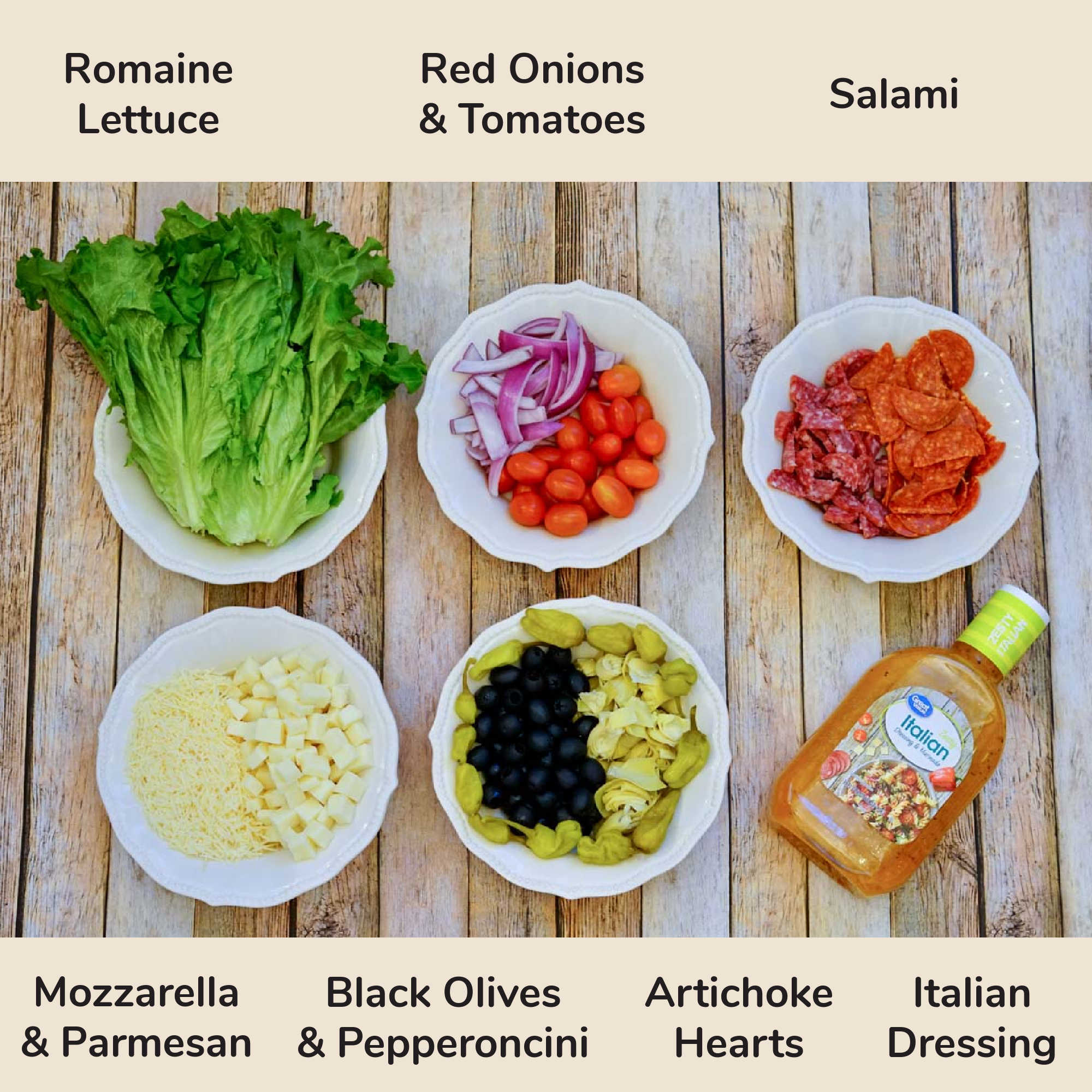 all of the ingredients needed for the keto antipasto salad with labels.