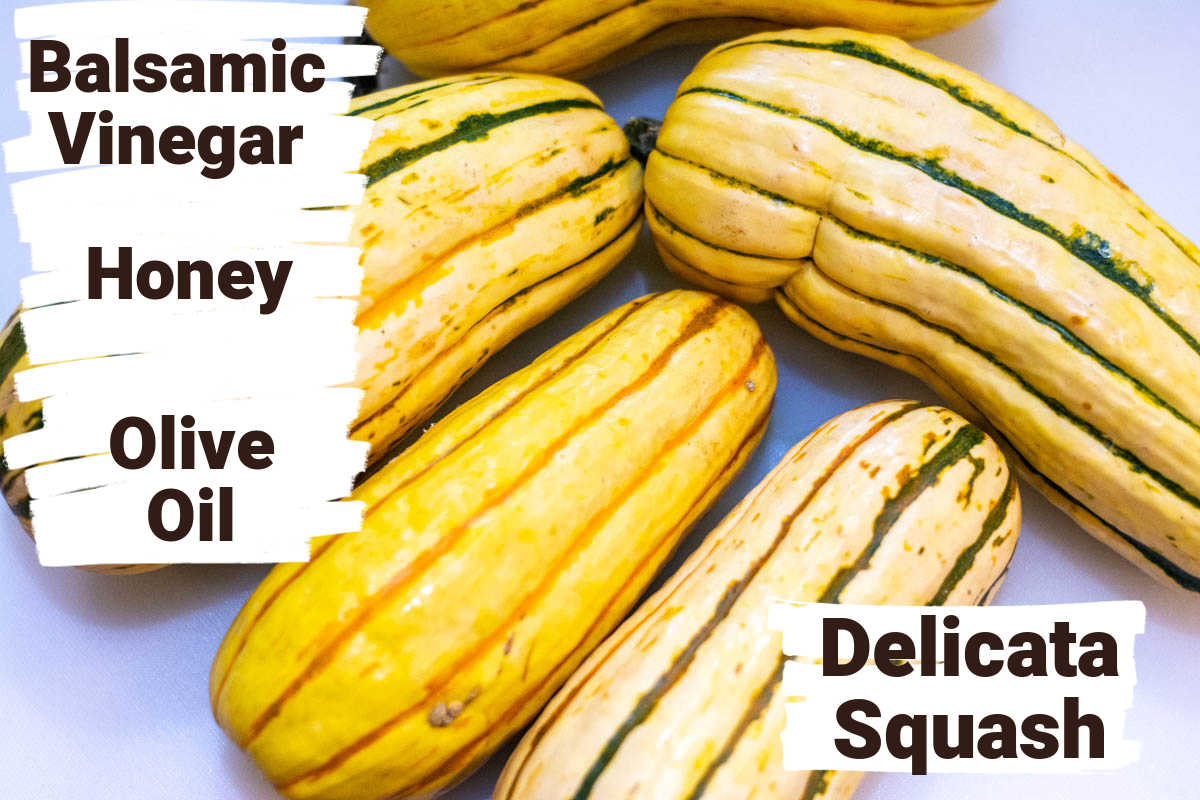 ingredients showing the delicata squash, balsamic vinegar, honey and olive oil with labels.