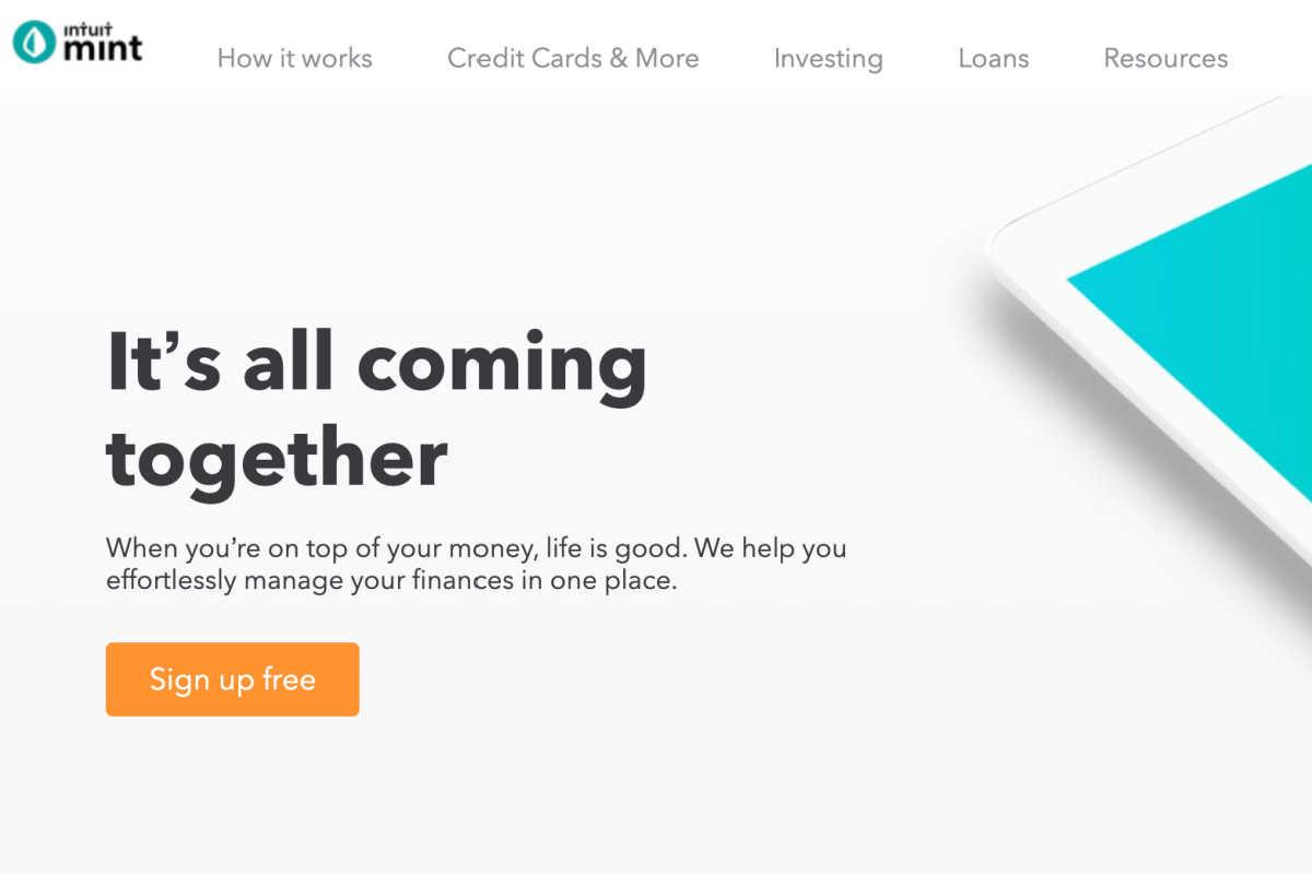 homepage snapshot of the mint app website.