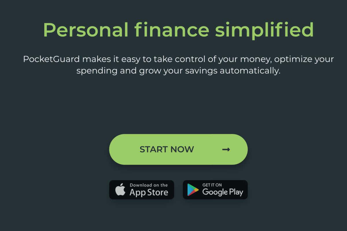 homepage snapshot of PocketGuard.