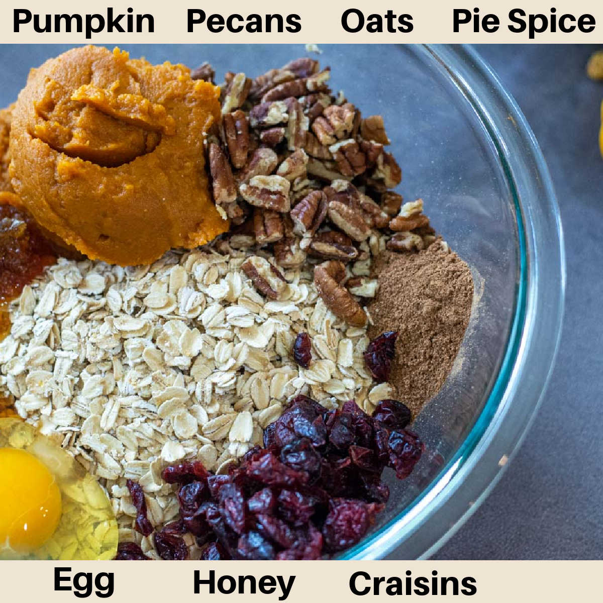 ingredients for the breakfast cookies in a glass bowl.