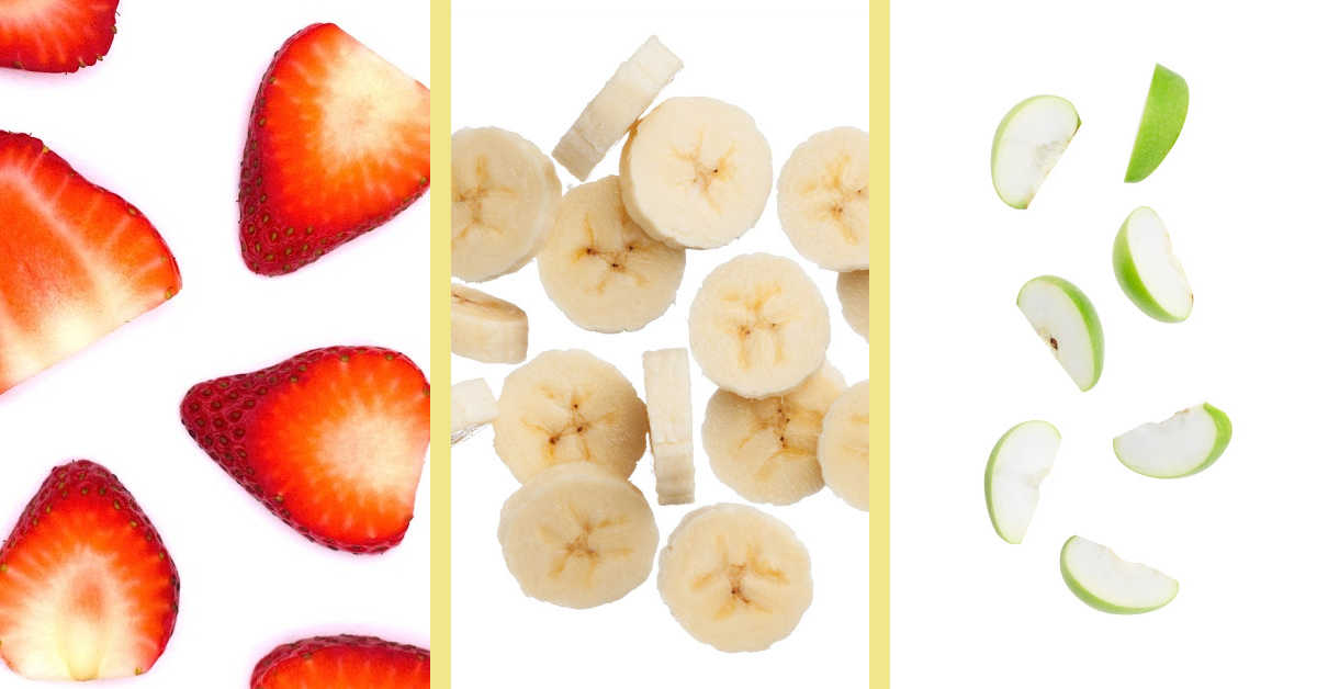 slices of strawberries, bananas, and apples.