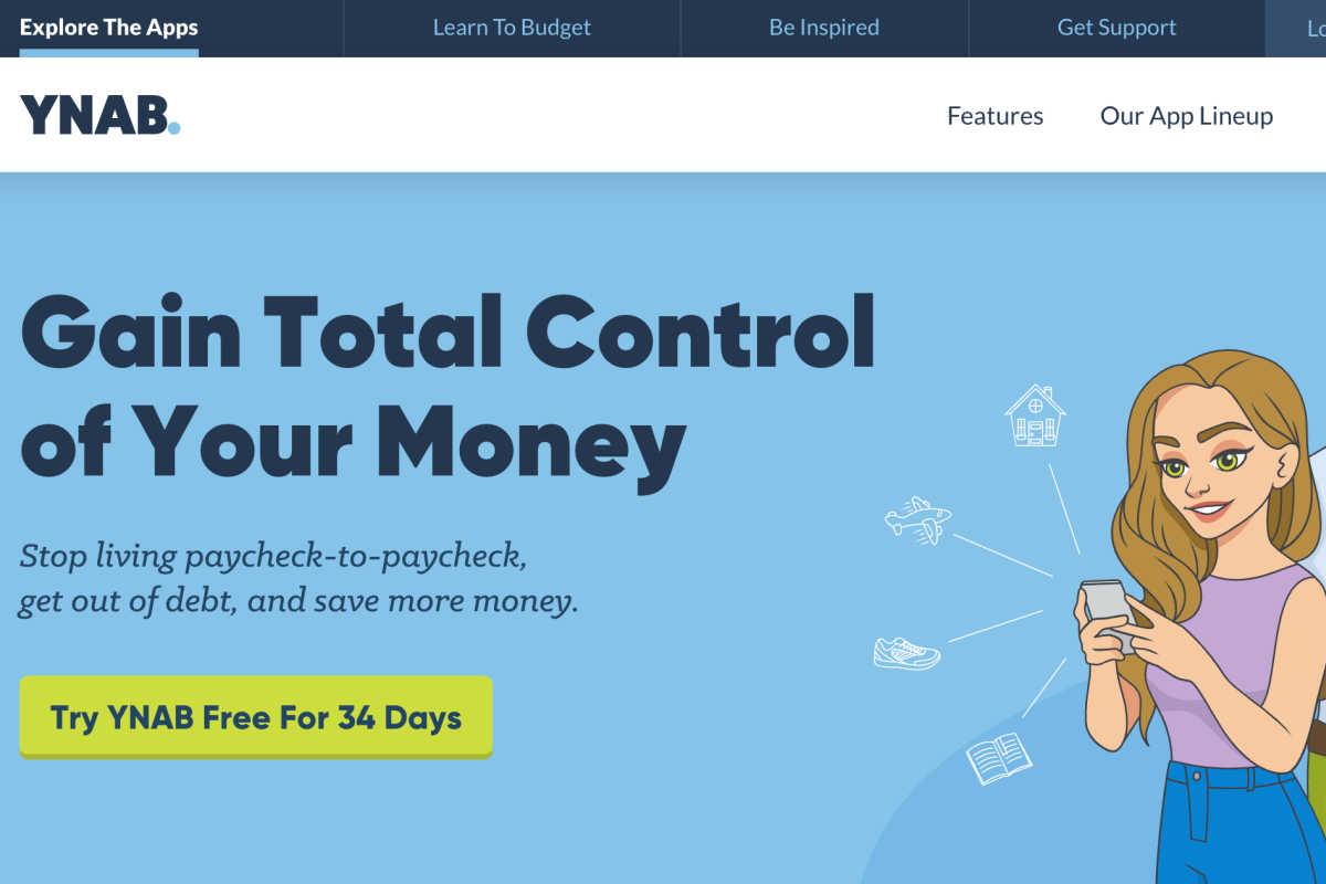homepage snapshot of YNAB app.