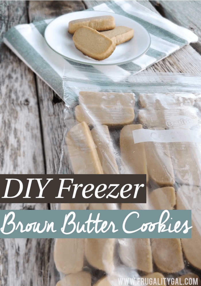 freezer Ziploc filled with butter cookie dough and baked cookies behind it.