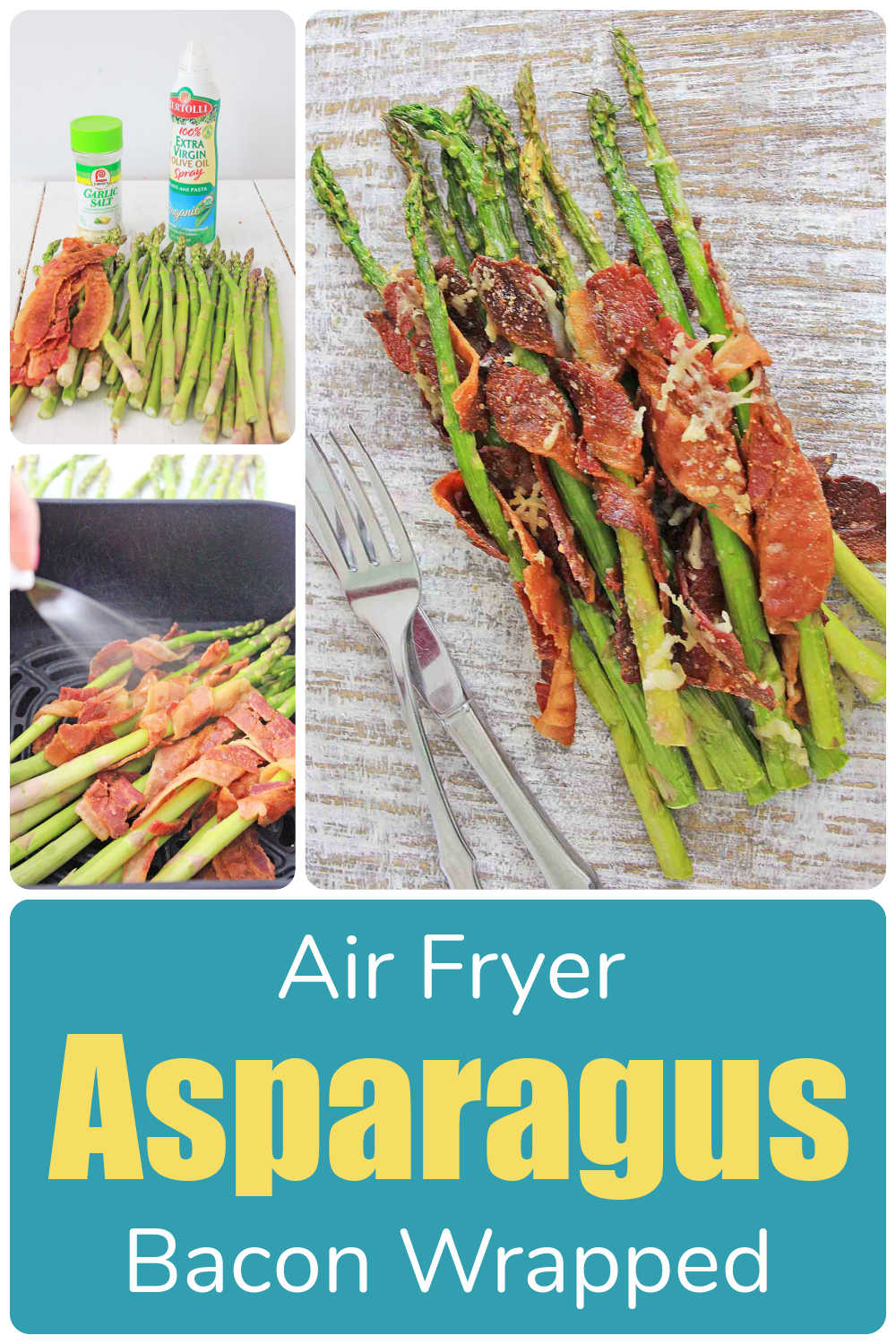 Air Fryer Bacon Wrapped Asparagus {10 Minutes}