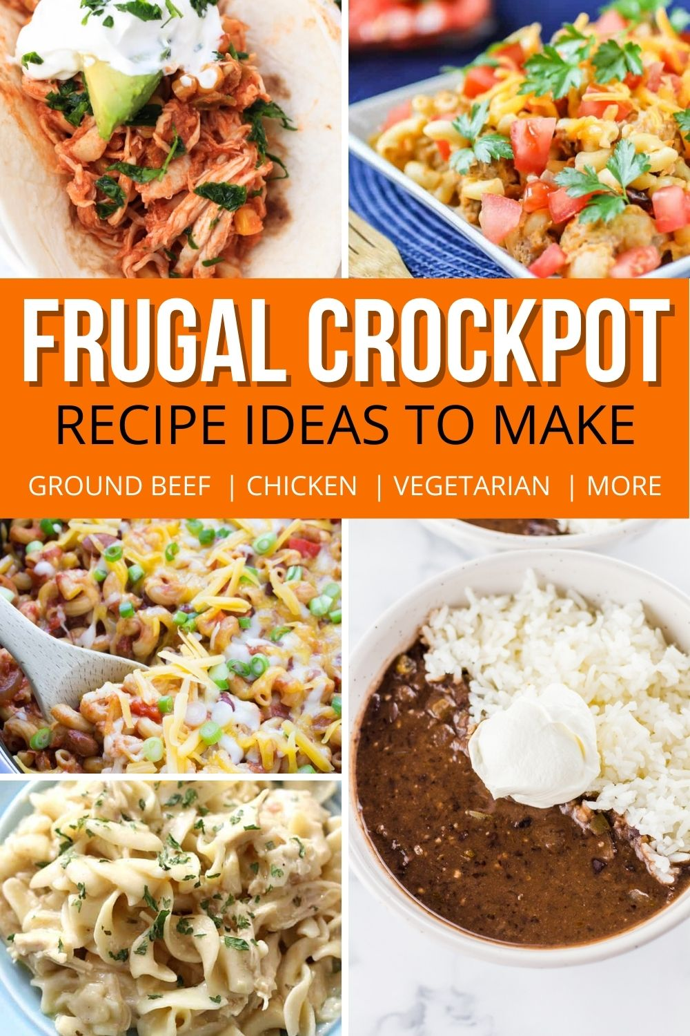 compilation of photos showing difference frugal crockpot recipes.