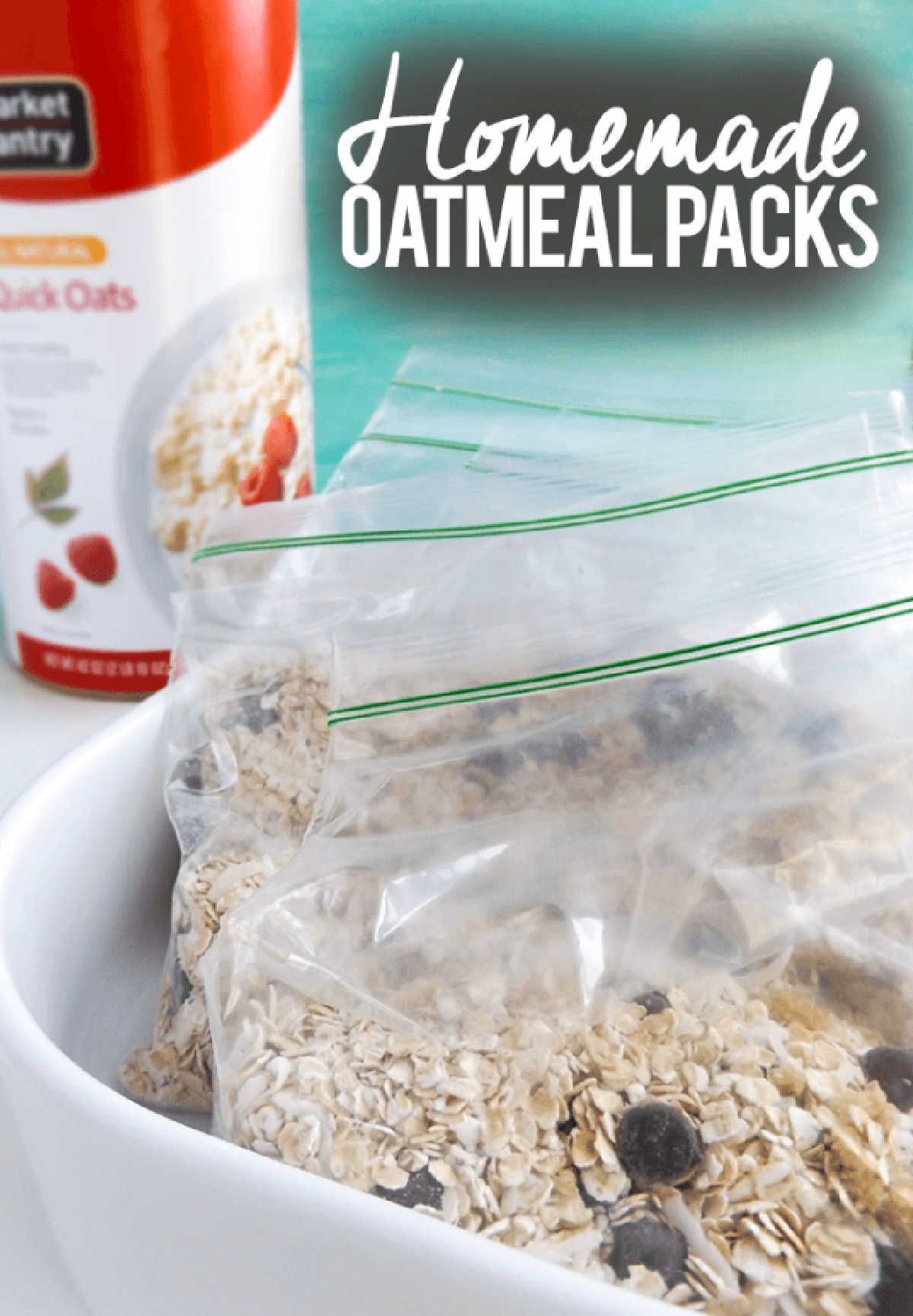 several baggies filled with oatmeal and chocolate chips in a serving dish.