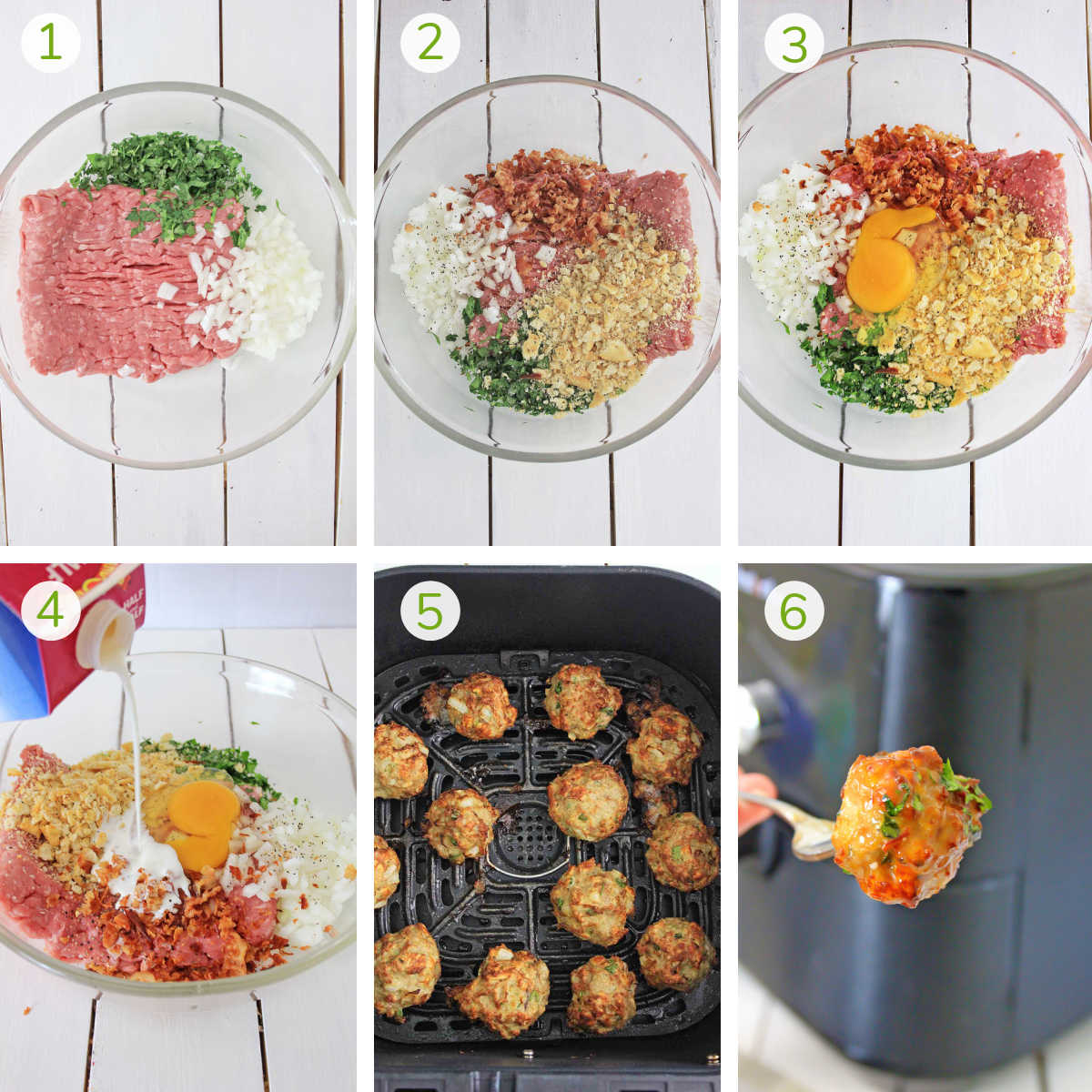 process photos showing how to make the chicken meatballs and then air fry them.