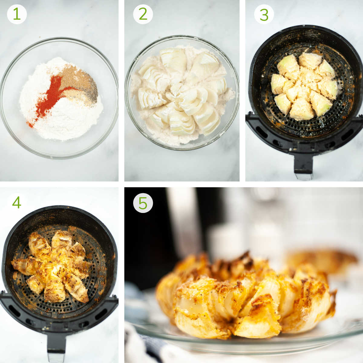 several photos showing how to mix the seasoning, coat the sliced onion and air frying it.
