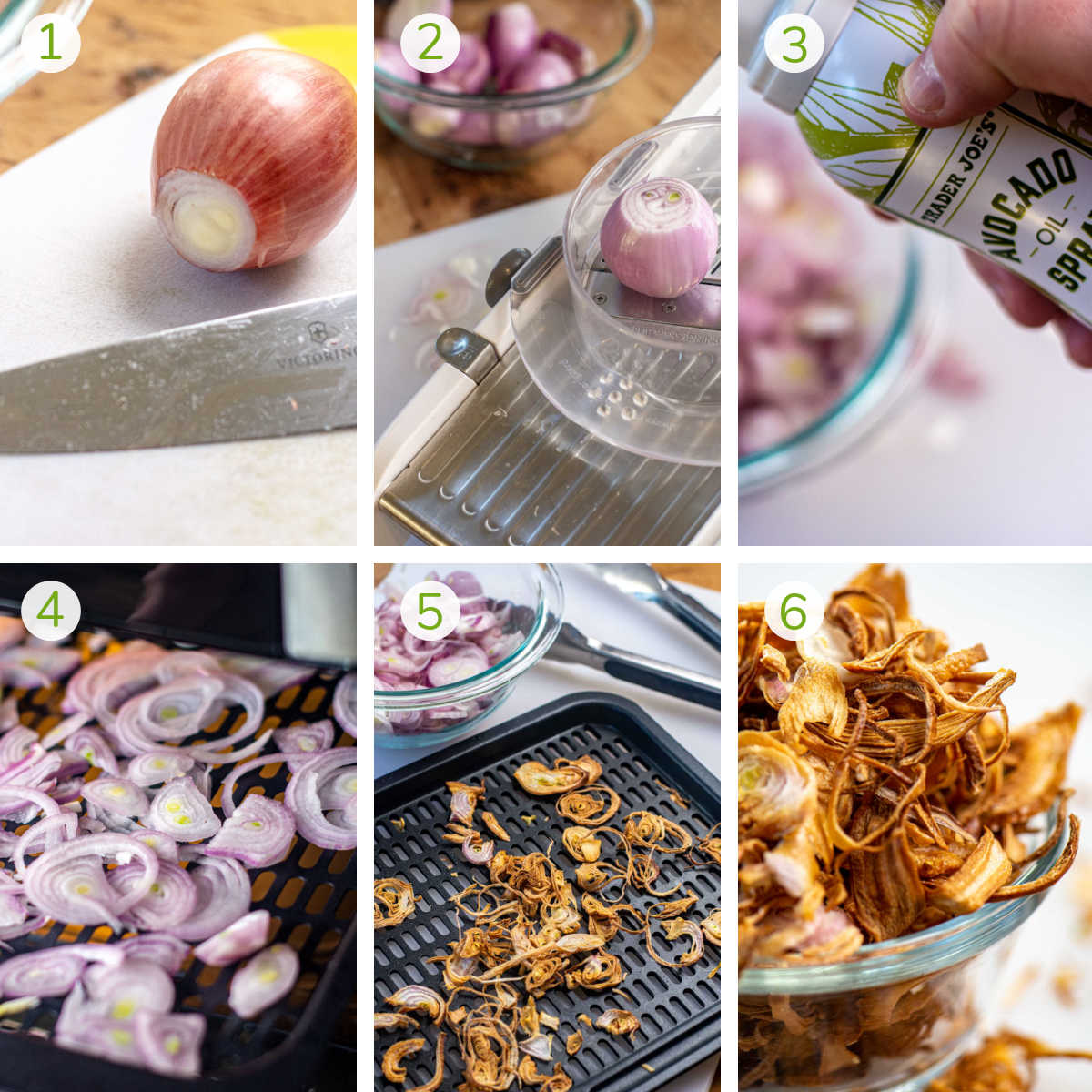 process photos showing cutting off the ends of the shallots, running it through a mandolin, and air frying them.