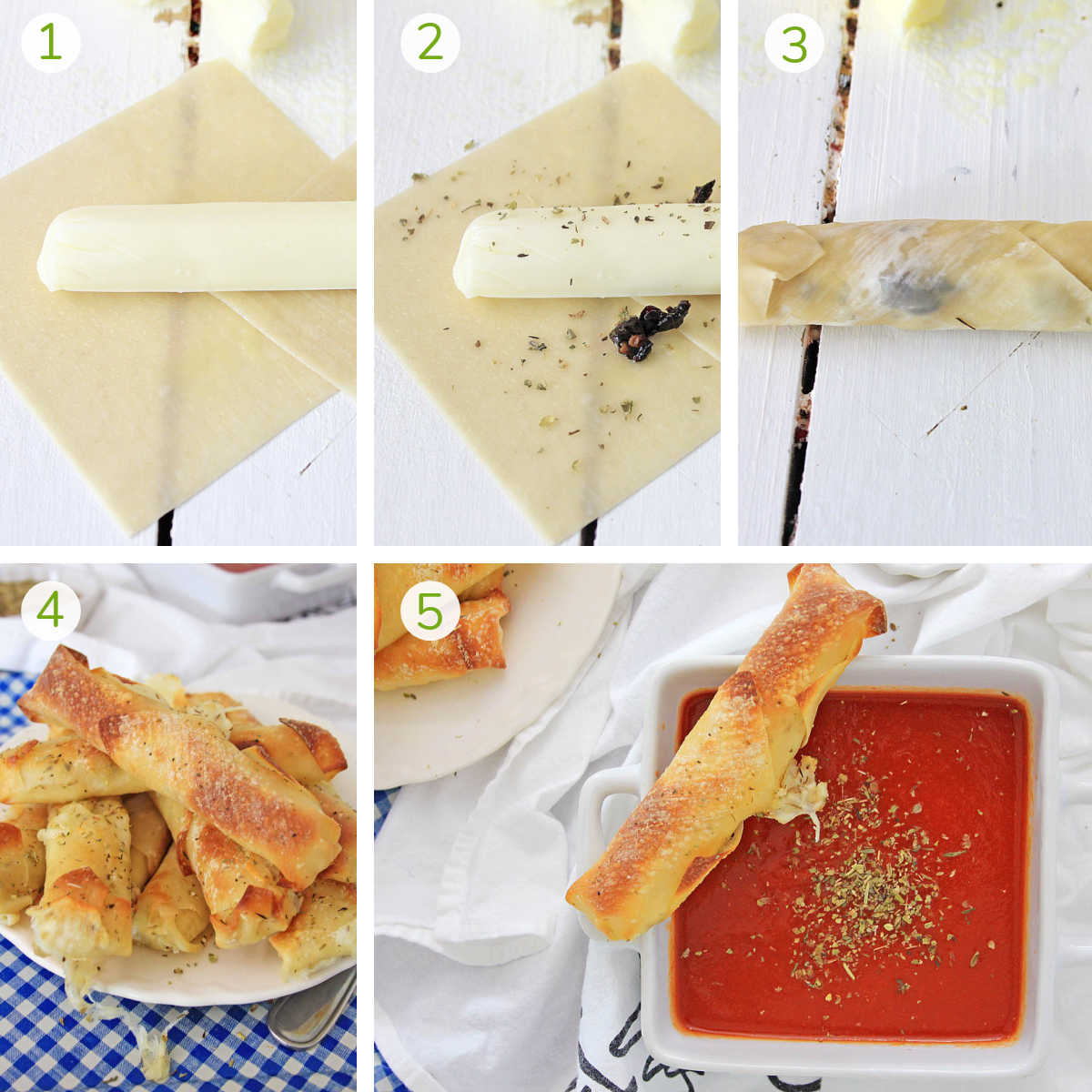 process photos showing how to roll the cheese stick, air frying it, and adding the marinara sauce.