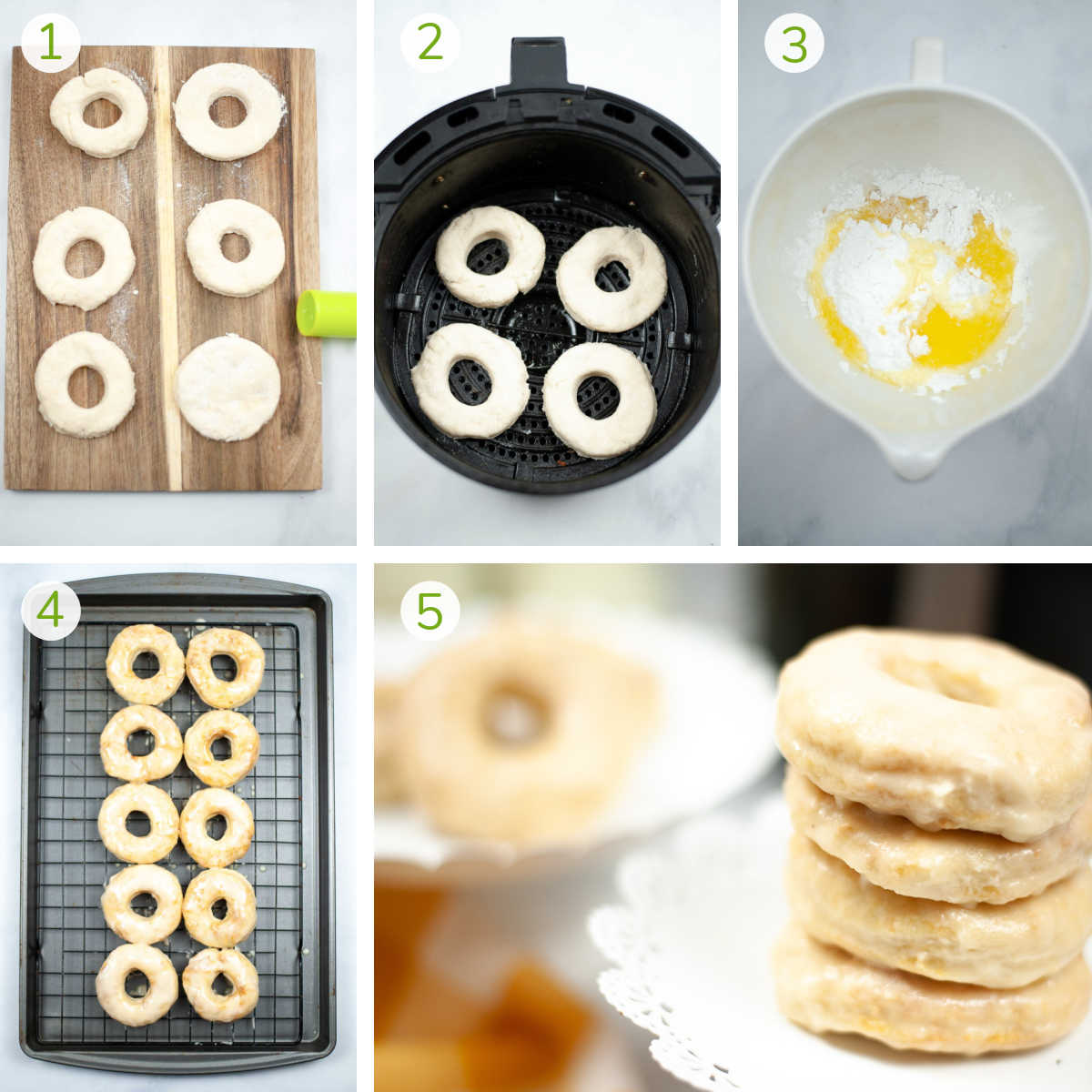 process photos showing cutting out the donut holes from the biscuits, air frying them and adding a glaze.