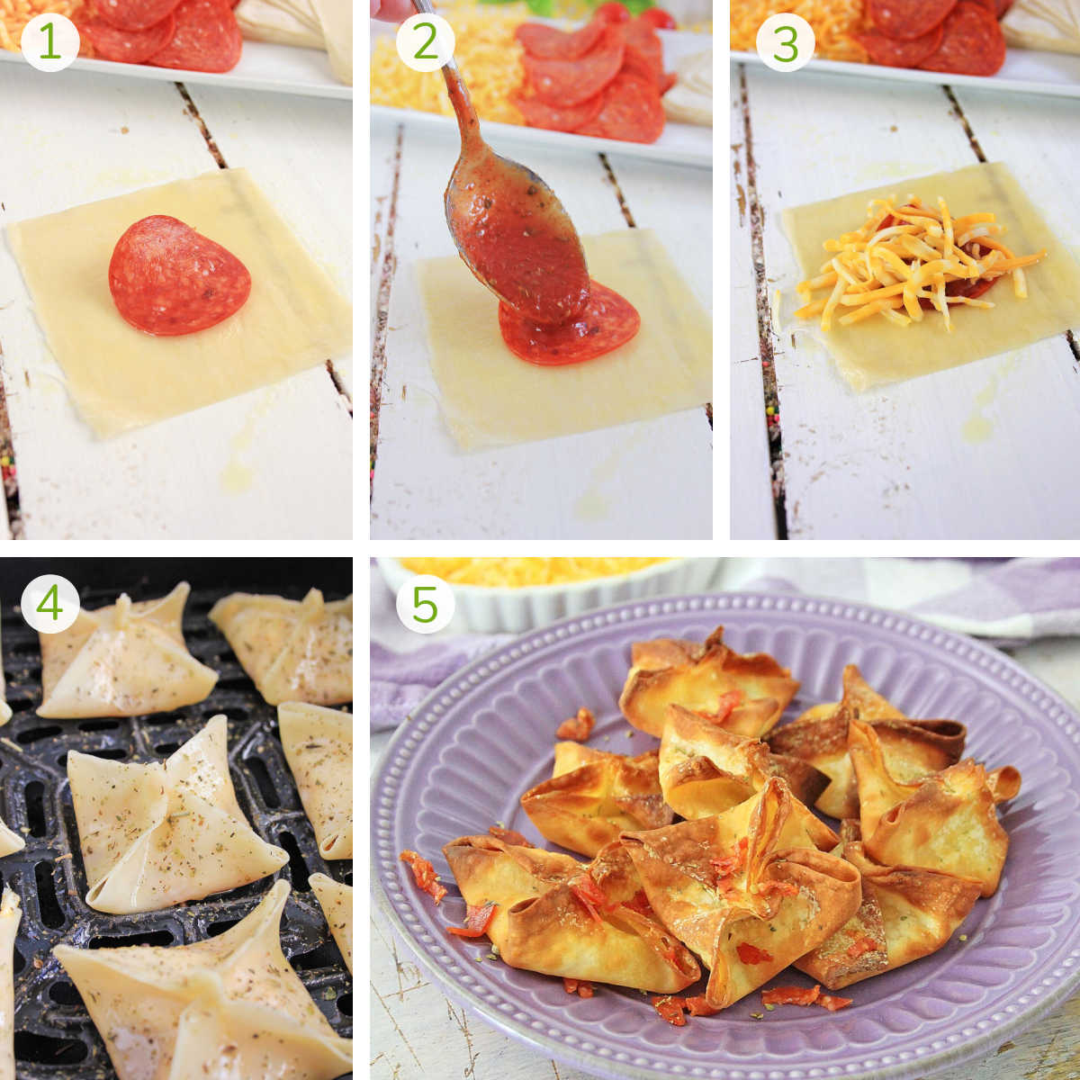 process photos showing adding the pepperoni, sauce, cheese to the wonton, folding it and air frying until crispy.