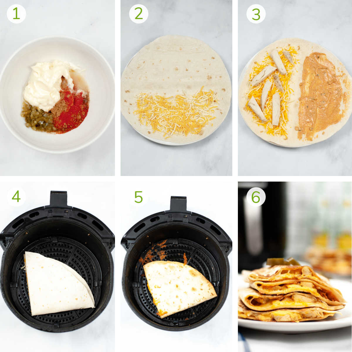 photos showing mixing the seasoning, adding cheese to the tortilla with the chicken, and then folding and air frying it.