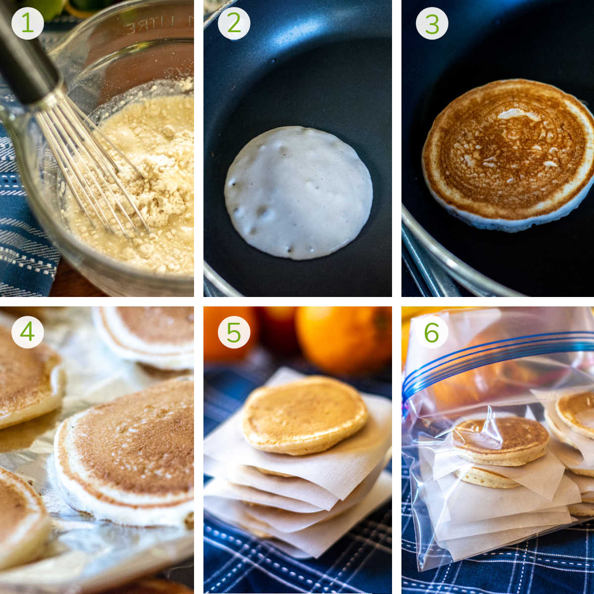 several process shots showing mixing the batter, cooking the pancakes and then prepping for the freezer bag.