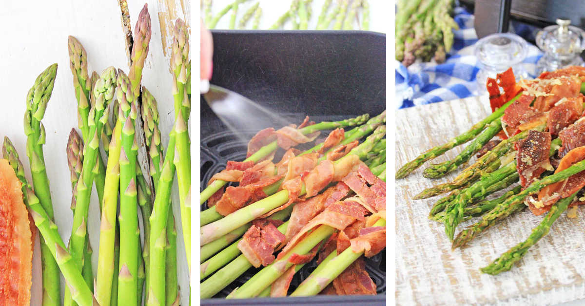 three process photos showing combining the ingredients, spraying lightly with oil and after being air fried.
